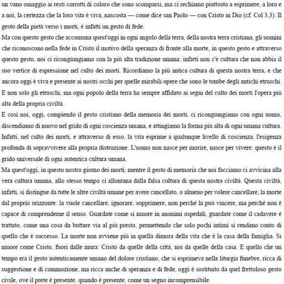 Commemorazione dei fedeli defunti con le parole di Don Francesco Ricci