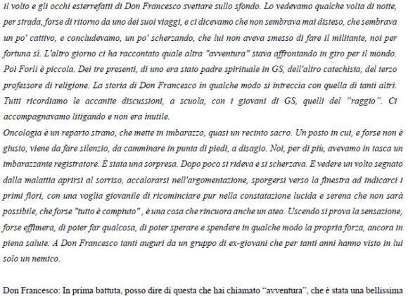 L'ultima intervista a Don Francesco Ricci