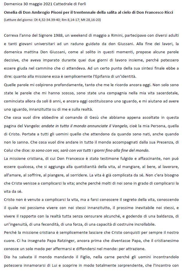 Omelia di Don Ambrogio Pisoni per il trentennale della salita al cielo di Don Francesco Ricci