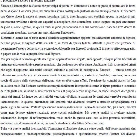 Omelia di Don Francesco Ricci agli universitari: Il Pubblicano Zaccheo e il vecchio Eleàzaro