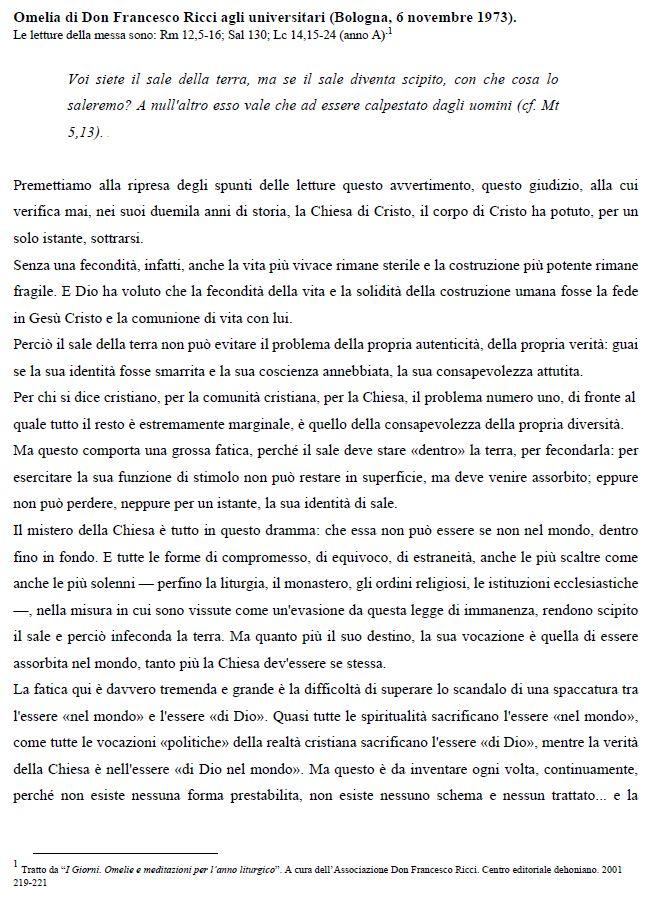 Omelia di Don Francesco Ricci agli universitari
