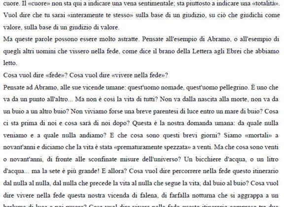 Omelia di Don Francesco Ricci alla comunità di Forlì: Dov'è il vostro tesoro là sarà anche il vostro cuore.