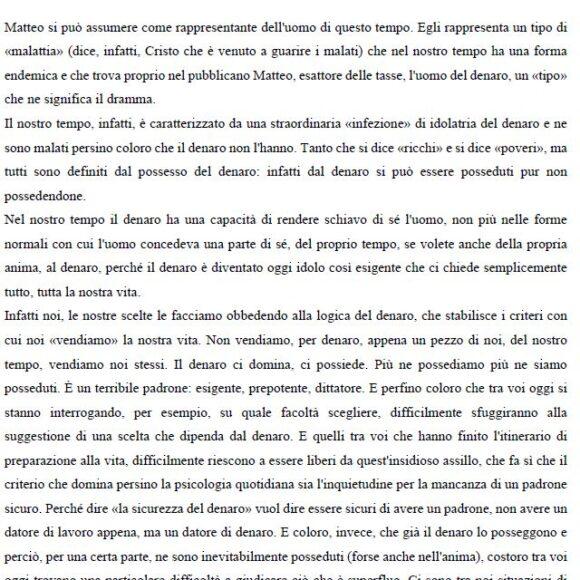 Omelia di Don Francesco Ricci alla comunità di Forlì: San Matteo Apostolo ed Evangelista