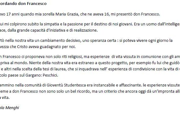 Paola Menghi, Ricordando Don Francesco