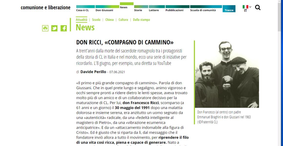 Davide Perillo ricorda la figura di Don Ricci sul sito di Comunione e Liberazione