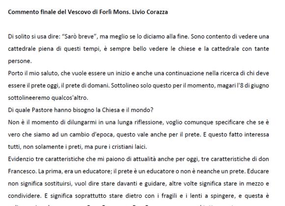 Commento finale del Vescovo di Forlì Bertinoro Mons. Livio Corazza