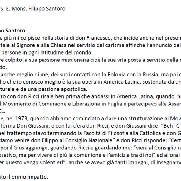 Intervista a S.E. Mons. Filippo Santoro a cura di Franco Palmieri